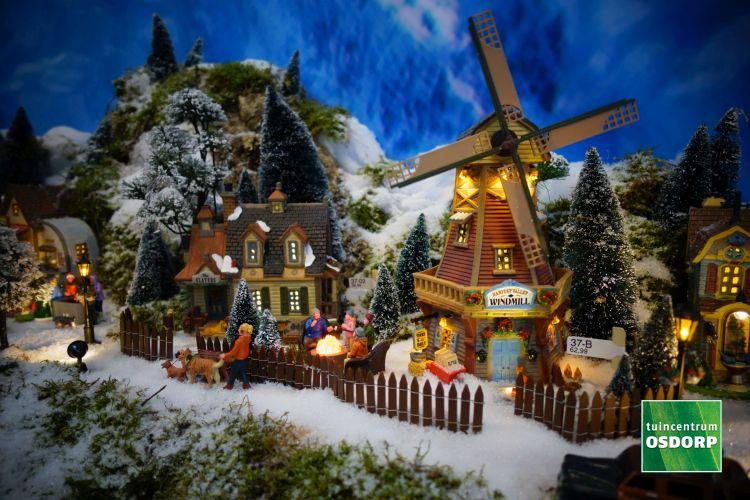 Lemax molen in kerstdorp 2017