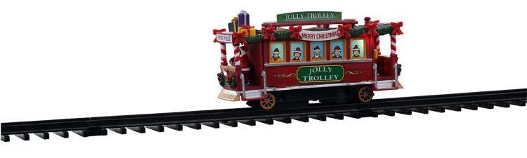 Mooie bewegende Lemax Jolly Trolly trein voor je kerstdorp