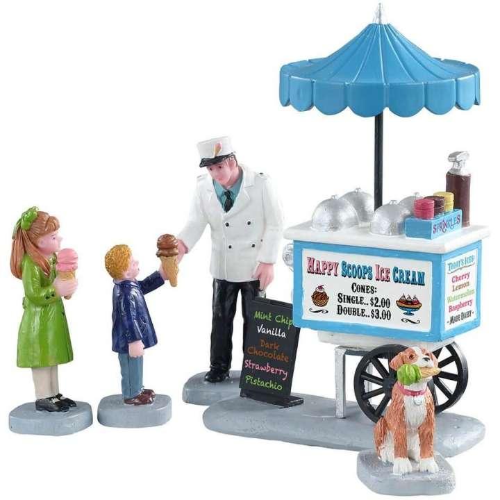 Lemax happy scoops ice cream cart miniatuur figuur nieuw in 2021
