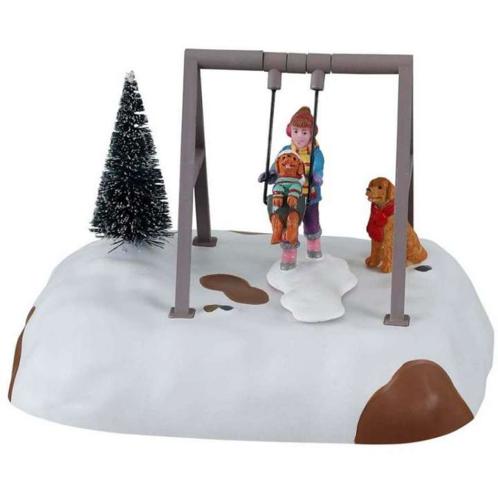 Lemax puppy gets a swing ride kerstdorp figuur nieuw in 2021