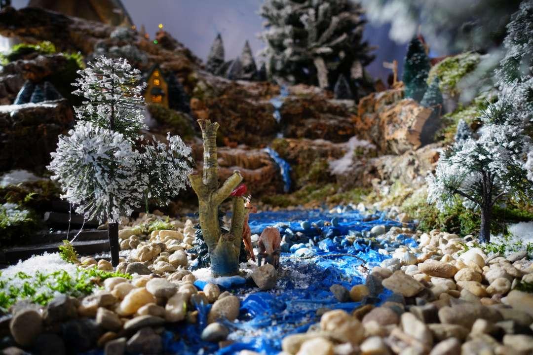 Kerstdorp ondergrond en landschap maken