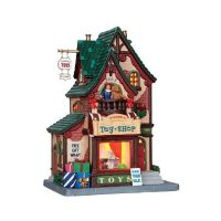 Lemax Pierre's toy shop verlicht kersthuisje Caddington Village 2014