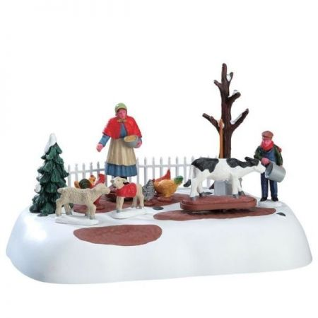 Lemax Winter Farm Chores bewegend kerstdorp figuur Caddington Village 2017