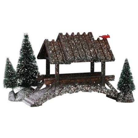 Lemax wooden bridge with trees kerstdorp accessoire 2001